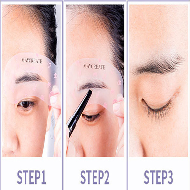 MayCreat 24 styles reusable Eyebrow stencil pencil for eyebrows enhancer drawing guide card brow template DIY make up Tools 4