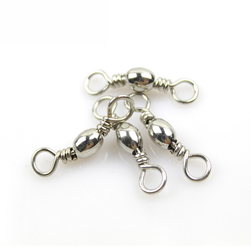 50pcs Stainless Steel Fishing Ball Bearing Rolling Swivel Barrel Sea Fish Hooks Lure Line Connector Goods For Fishing Carp Tool