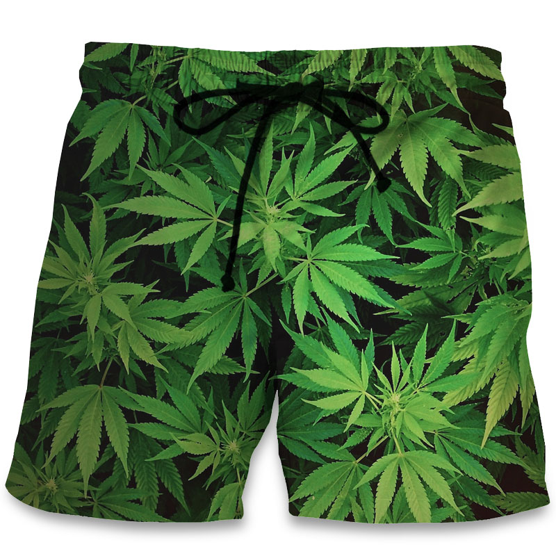3D Print Casual Beach   Shorts   Maple Leaf Weeds Men Hip Hop Summer Trunks Bermuda 2018 Fashion Boys   Board     Shorts   with Pocket 6XL