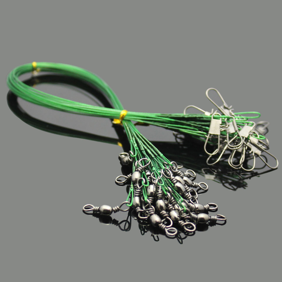 10pcs Fishing Lure Trace Wire Leader line Swivel Tackle Spinner Shark 15-30cm