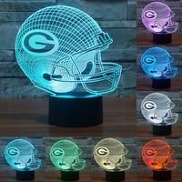 כובע בייסבול גרין ביי פקרס 3D אקריליק LED מנורת שולחן LED לילה אור 7 שינוי צבע מגע מתג NightLampas מתנה IY803653