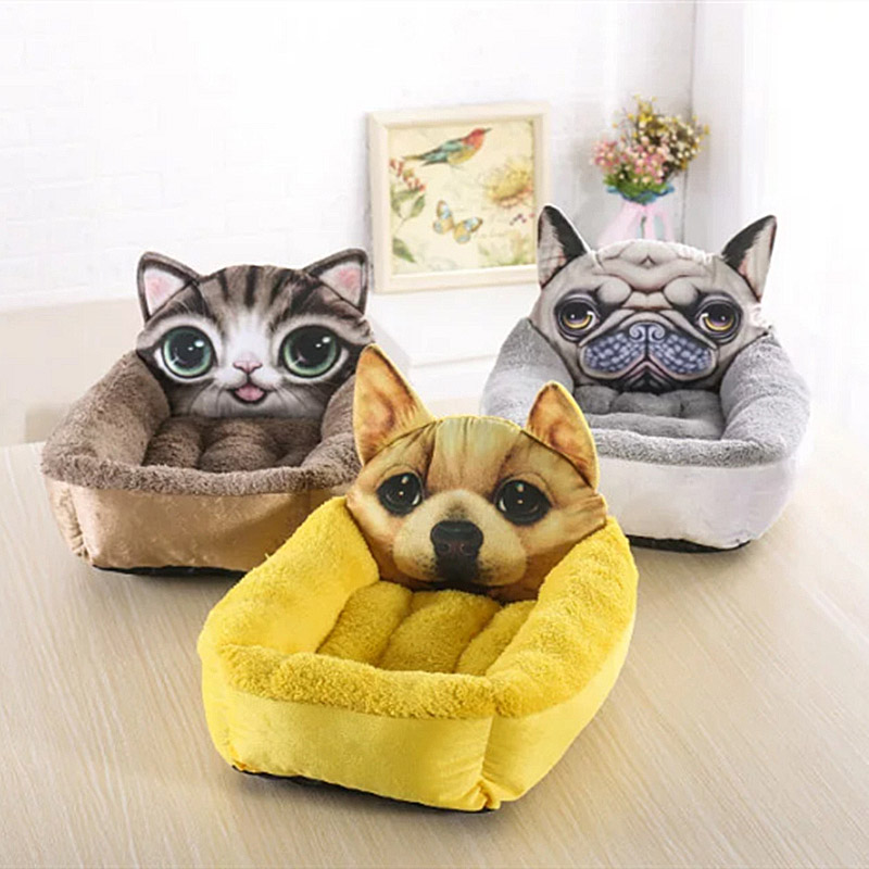 Wholesale Cat House Dog Kennel Puppy Bed Pet Print Cartoon Square Dogs Nest Sleeping Pad Pet Home Decoration Accessories ATY-026