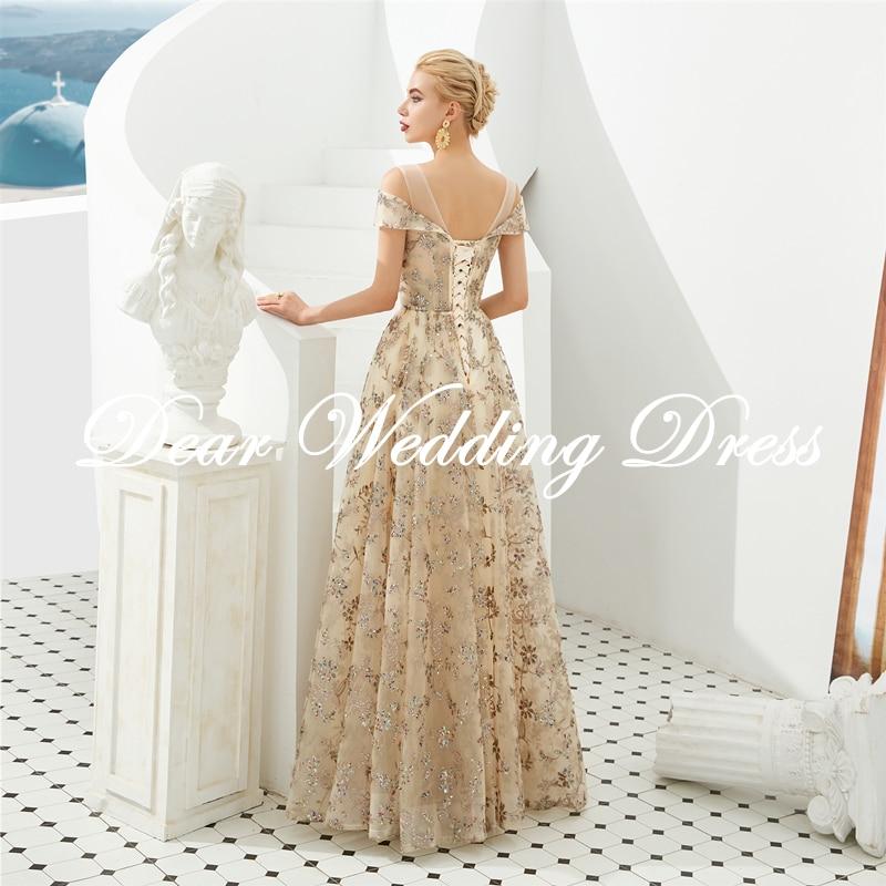 Floral Prom Dresses Walk Beside You Lace Short Sleeve A-line Champagne Belt Long Evening Gowns Vestido De Formatura
