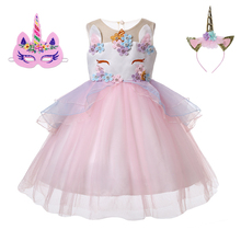 New Kids Girls Moana Vestidos Unicorn headband Party Dress Elegant Cinderella Elsa Costume Summer Wedding Dresses