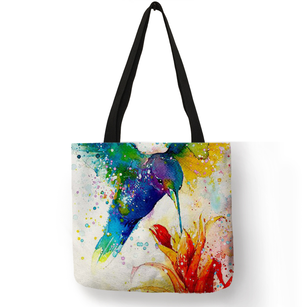 Watercolor Animal Art Linen Tote Bag With Print Reusable Shopping Bags Casual Fashion Handbags for WomenWatercolor Animal Art Linen Tote Bag With Print Reusable Shopping Bags Casual Fashion Handbags for Women