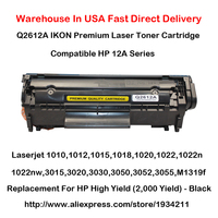 1 Pack IKON Premium Laser Toner Cartridge Compatible Replacement For HP Q2612A High Yield 2 000