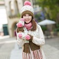Knitted hat scarf gloves three pieces set one piece color block decoration muffler scarf girls winter birthday christmas gift