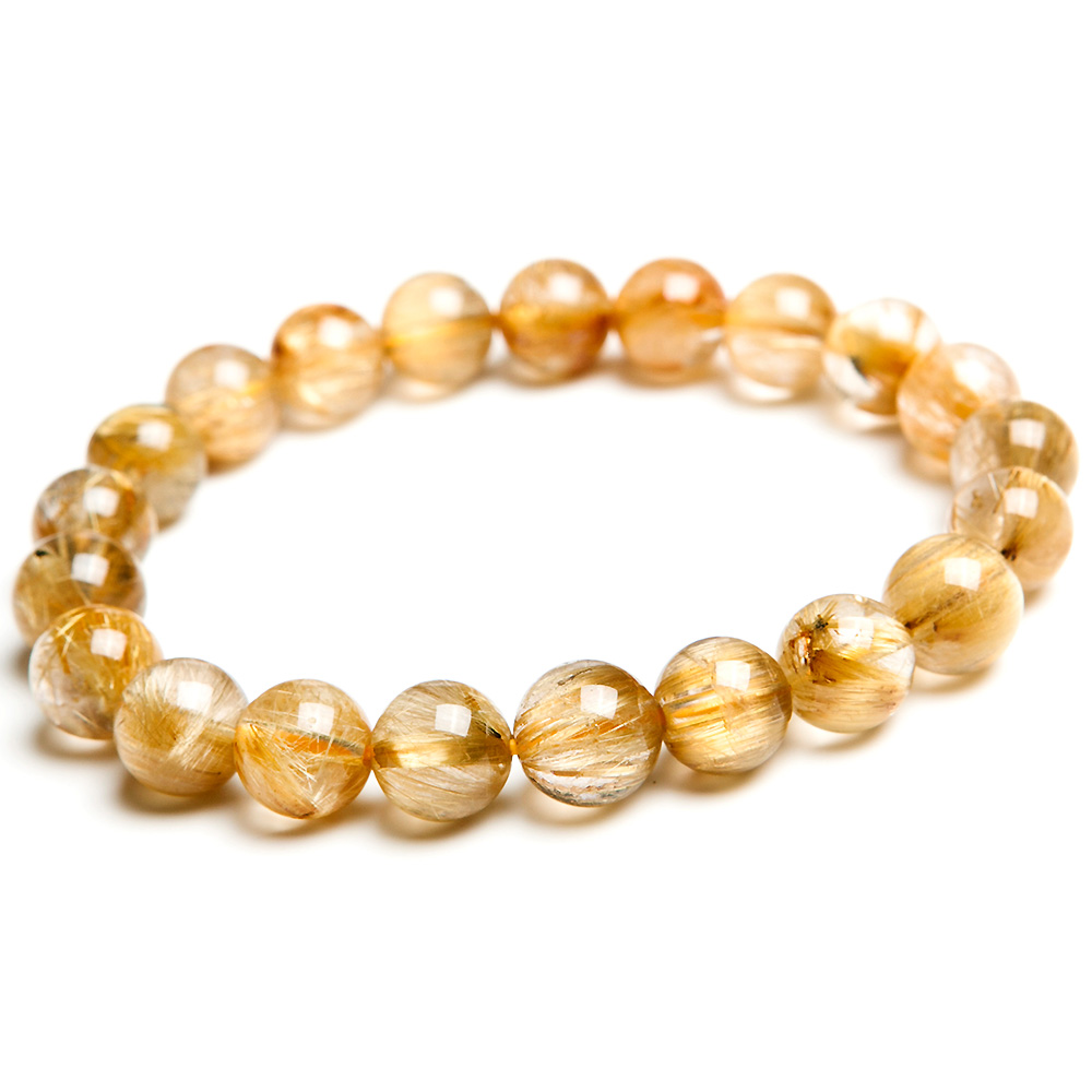 Genuine Natural Brazil Gold Rutilated Quartz Crystal Woman Man 9mm Titanium Gemstone Round Beads Bracelet Jewelry Bangle AAAA in Bracelets Bangles from Jewelry Accessories