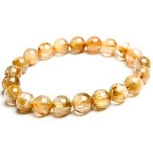 Genuine Natural Brazil Gold Rutilated Quartz Crystal Woman Man 9mm Titanium Gemstone Round Beads Bracelet Jewelry Bangle AAAA недорого