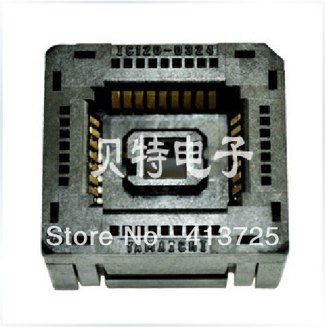 IC120-0324-309 test socket PLCC32 block adapter programming continued to burn, gd32f103 gd32l103 stm32f stm32l lqfp64 ic test socket programming burn block