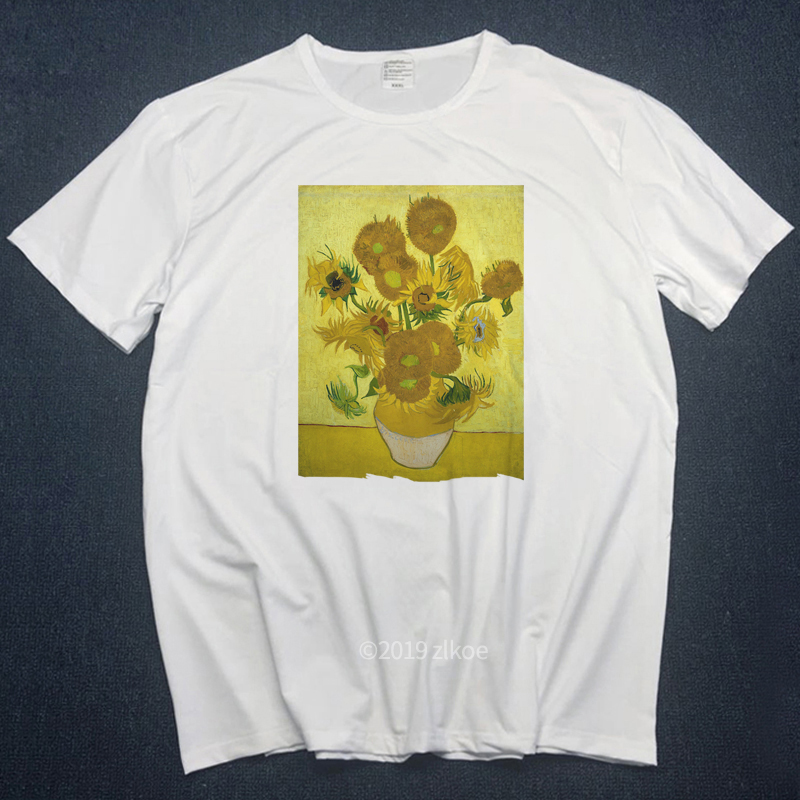 van gogh t-shirts women men t shirt ulzzang tumblr Angel kiss short sleeved tshirt womens graphic tees shirt aesthetic clothes