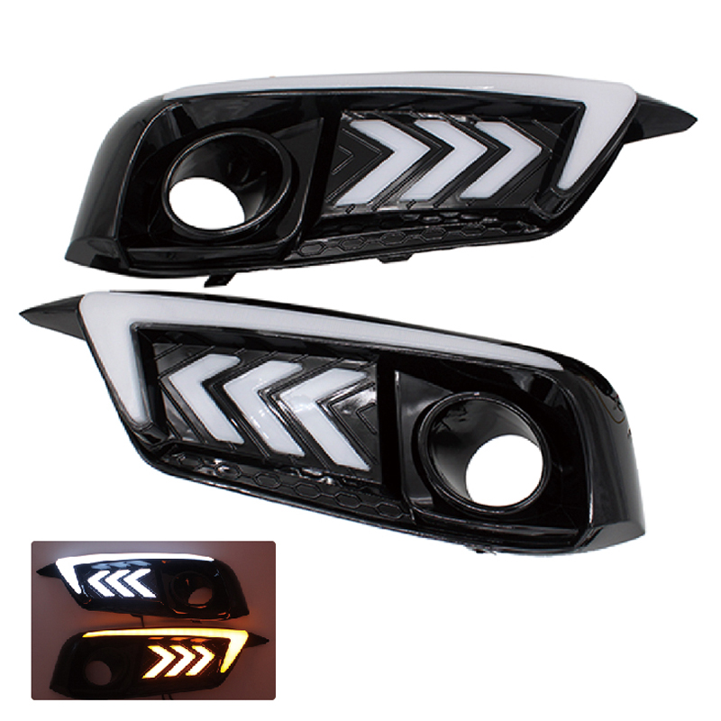 SUNKIA LED Daytime Running Light Car Styling LED DRL Head Fog Lamp for Civic 10th 2016 with Turn Signal Light Free Shipping