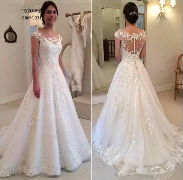 Barato UMA Linha Lace Vestido de Noiva 2019 Robe De Mariage Ver Através Voltar Vestidos De Novia Custom Made Vestidos China vestidos de noiva