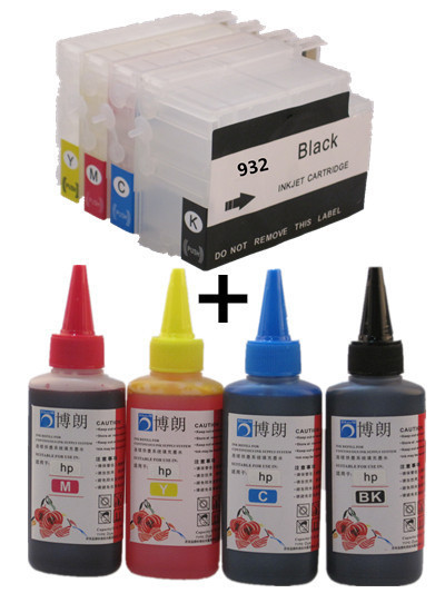 932 933 hp932 933 XL Refillable INK cartridge for HP Officejet Pro 6100e 6600e 6700 7110+ for hp Premium  4 Color Dye Ink 400ML споттер blue weld plus 230