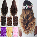 "Long Curly Wavy 24"" Clip in ins hair Extensions 100% real thick synthetic hair brown green pink red purple blue"