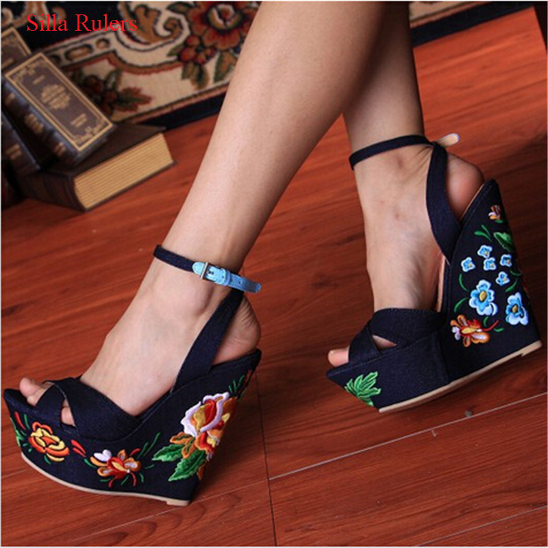 Blue Denim Sandals Folk Flower Embroideried Fabric Wedge Gladiator Sandals Women Platform Sandals Wedding Shoes Woman Sandalias
