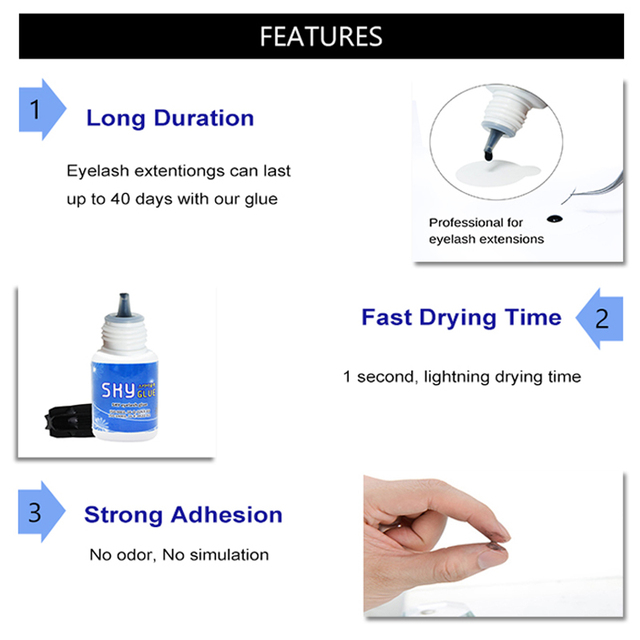 Free Shipping 1 bottle 1-2s Dry Time Most Powerful Fastest Korea Sky Glue S+ for Eyelash Extensions MSDS Adhesive,5ml Black Cap