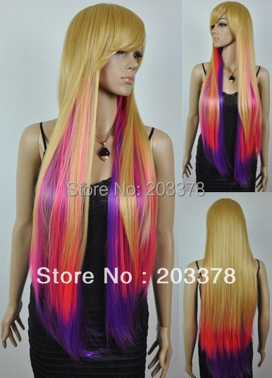 Mixed Color Long Straight Wig for Party HEAT-RESISTANT FIBER 10pcs/lot mix order free shipping