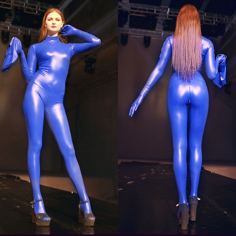 Plus Size Wetlook Zip Open Crotch Bodysuit Latex Catsuit Bodystocking Sexy Hot Erotic Porno Jumpsuit One Piece Babydoll Teddies