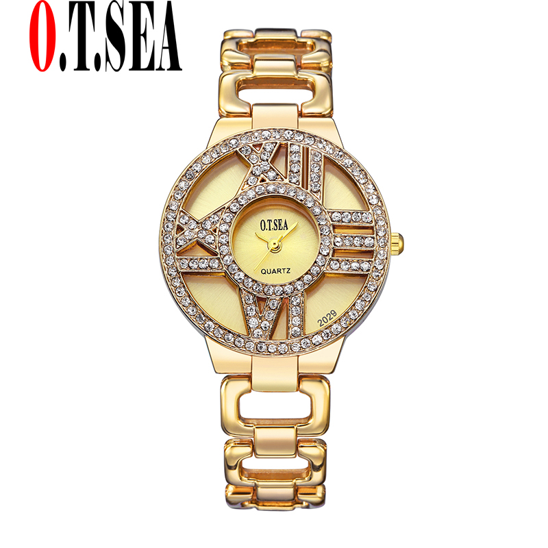 Luxury O.T.SEA Brand Gold Plated Watches Women Ladies Crystal Dress Quartz Wristwatches Relogio Feminino 2029