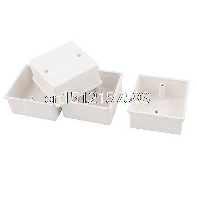 4pcs 86mmx86mmx40mm White PVC Mount Back Box for Wall Socket uxcell 10pcs 86mm x 86mm x 40mm white pvc single gang wiring mount back box for wall socket