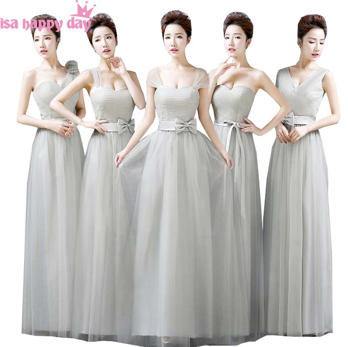 2019 New Fashion Long Grey One Shoulder Floor Length Bridesmaid Dress Sexy Teen Pretty Maids Dresses For Wedding Party B2690
