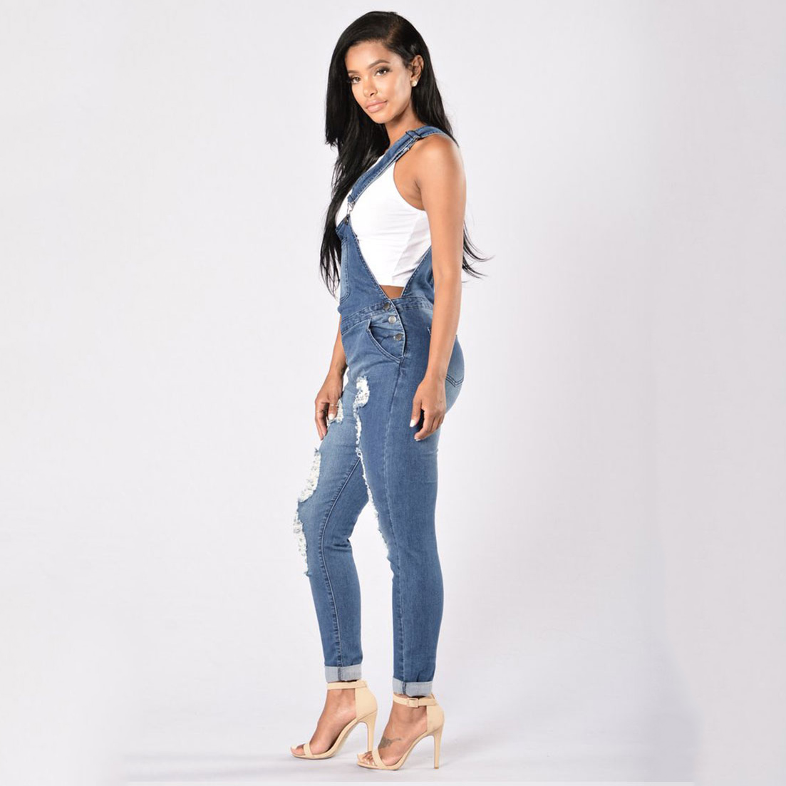 7b32a49b547 Hot New 2018 Women Ripped Denim Jumpsuits Women s Overalls Casual Sexy  Romper Plus Size Ladies Blue Denim Jeans Jumpsuit-in Jeans from Women s  Clothing on ...