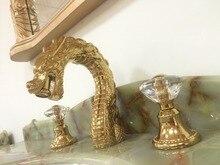 Бесплатная доставка Золотой Цвет Твердый латунный разбросной 8 «3 отверстия Умывальник для ванной комнаты смеситель в виде дракона смеситель кран Хрустальные Ручки