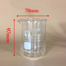 250ml 12pcs/set Pyrex Beaker borosilicate glass Lab glassware chemical measuring cup flat bottom for scientific test цена