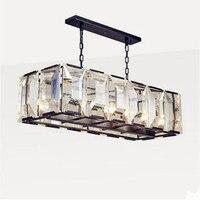 IWHD American LED Crystal Pendant Light Fixtures Living Room Style Loft Industrial Vintage Lamp Lustre De Cristal