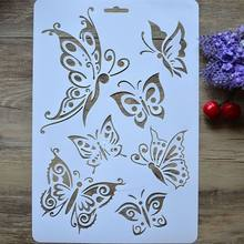 1PC Butterfly Layering Stencils For Walls Painting Scrapbooking Stamps Album Decorative Embossing Paper Cards DIY Craft Tools(China)
