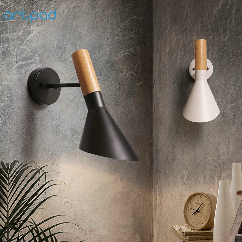 Artpad Industrious Vintage Wall Light Metal Sconce Bathroom Kitchen Corridor Stairway Lighting White Black Wall Mounted Lamp the ivory white european super suction wall mounted gate unique smoke door