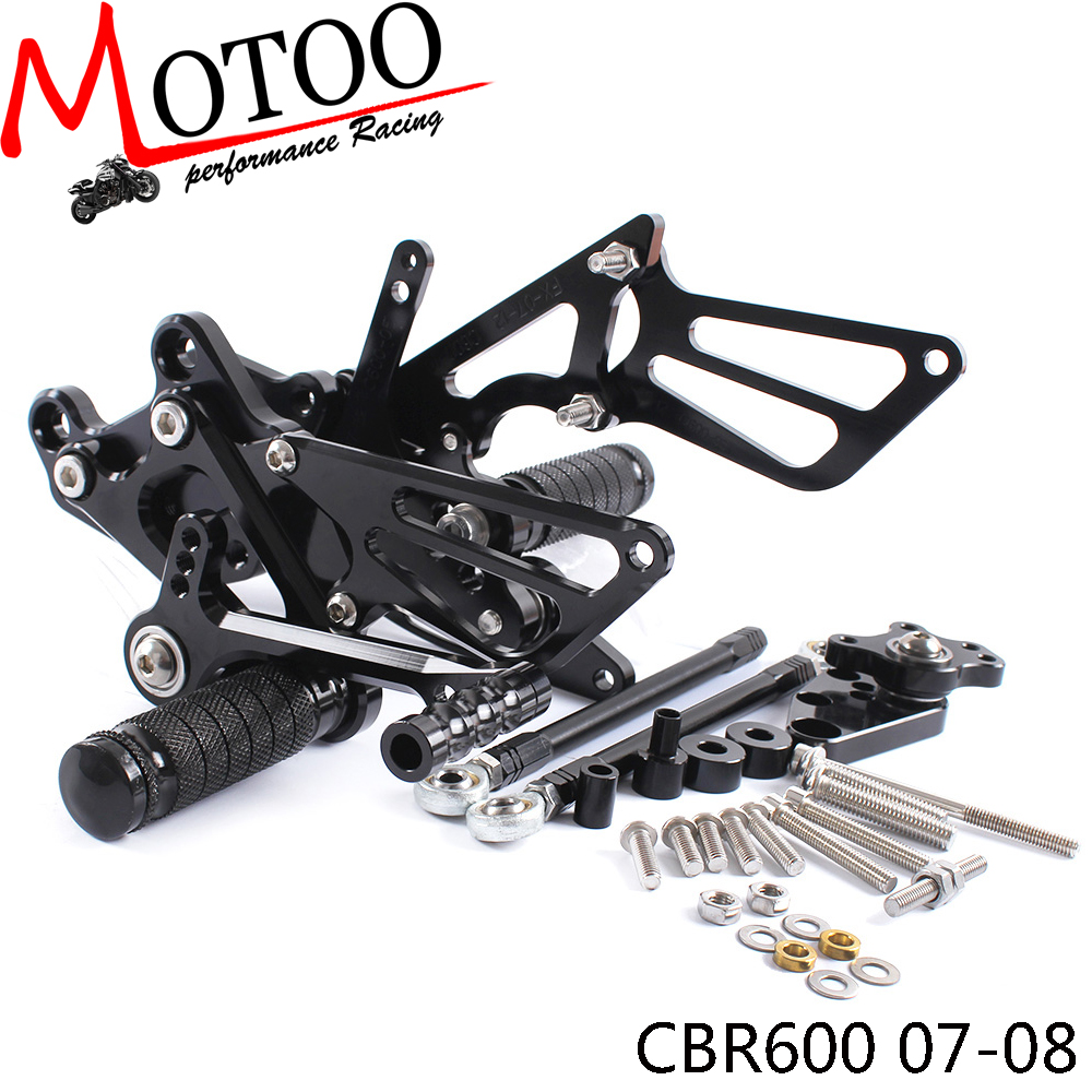 Motoo - Full CNC Aluminum Motorcycle Adjustable Rearsets Rear Sets Foot Pegs For HONDA CBR600RR 2007-2008 free shipping of 1pc hss 6542 full cnc grinded machine straight flute thin pitch tap m37 for processing steel aluminum workpiece