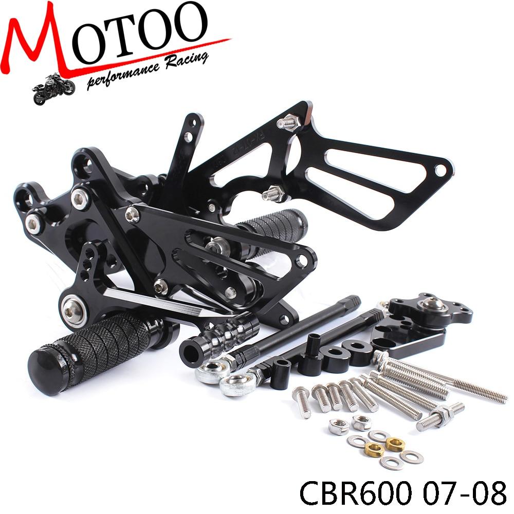 Motoo - Full CNC Aluminum Motorcycle Adjustable Rearsets Rear Sets Foot Pegs For HONDA CBR600RR 2007-2008