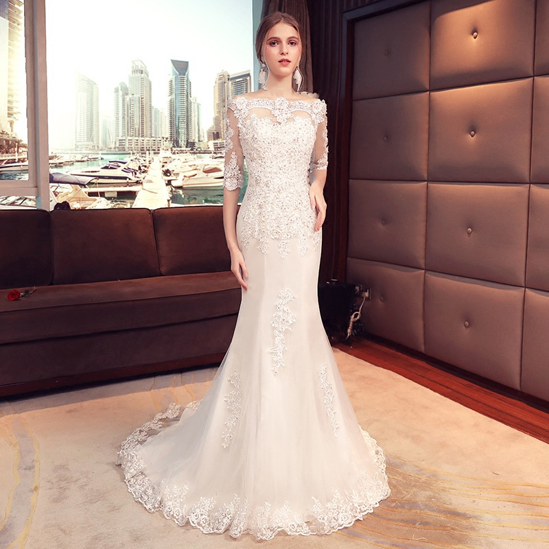 Holievery Half Sleeves Mermaid Wedding Dresses 2019 Champagne Lace Appliques Bride Dress Sweep Train Wedding Gown Gelinlik