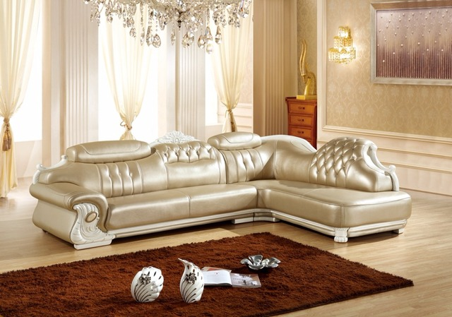 Amerikaanse lederen bankstel woonkamer sofa China L vorm hoekbank ...