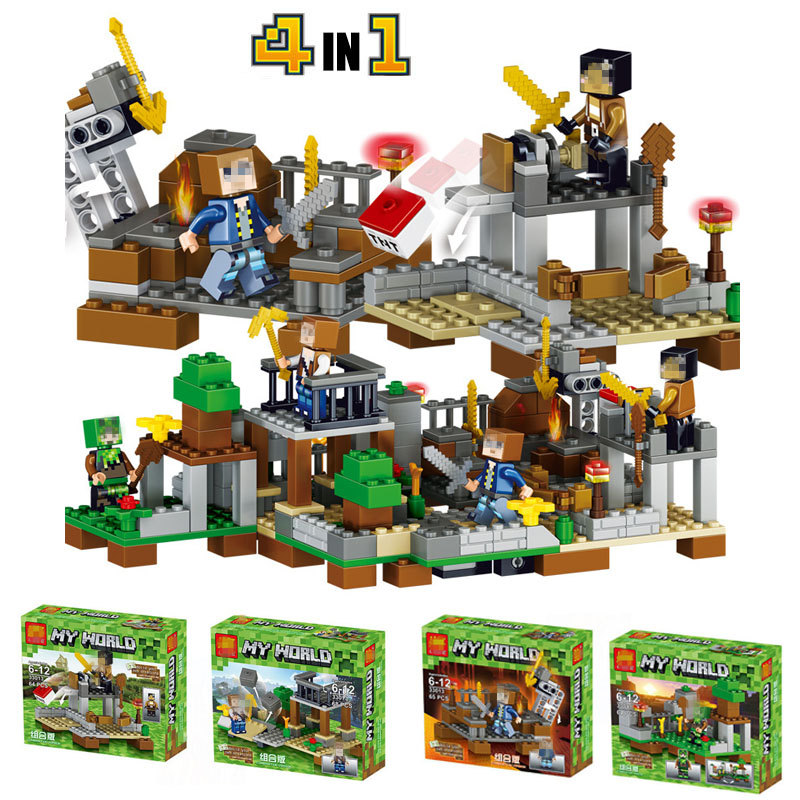 4Pcs/Set My World Series Eductional Sword Espada Model Minecraft Building Blocks Children Toys Compatible LegoINGly Minecrafter