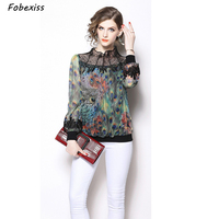 Fashion Woman Blouses 2019 Print Peacock Feather Modis Office Ladies' Blouses Vintage Embroidered Long Sleeve Feminine Blouse