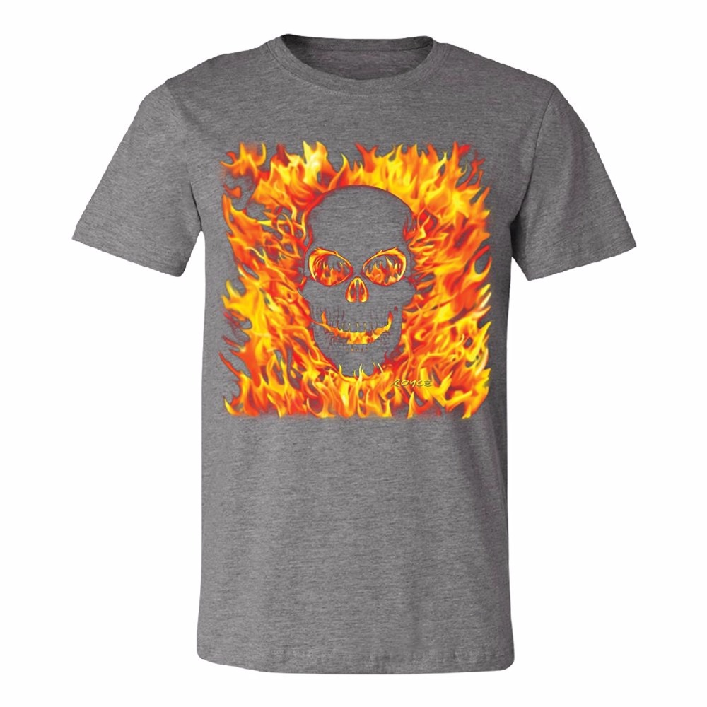 Funny Graphic T Shirts Short Sleeve Burning Evil Skull Flames Mens T-Shirt Brand New Tee Broadcloth Crew Neck T Shirt For Men