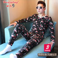 Men Cotton Long Johns Set Winter Clothing Printing Style Thermal Underwear Clothes Pants Warm Cotton Set Men Long Johns For Set