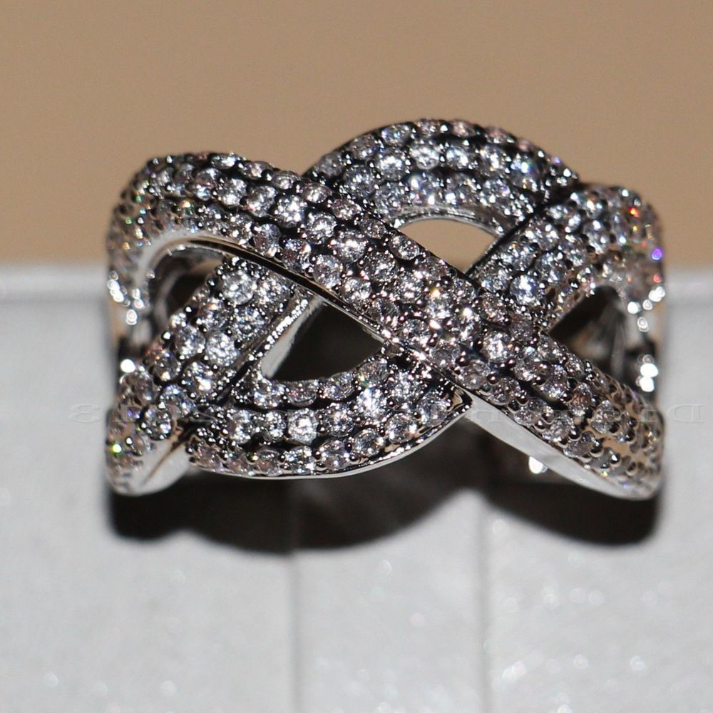 Charming Women/'s Jewelry Sapphire Wedding Band Rings White Gold Filled
