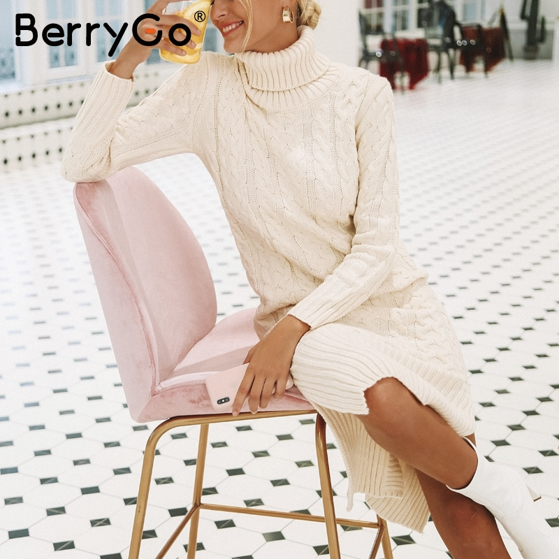 BerryGo Turtleneck split loose sweater dress long White knit