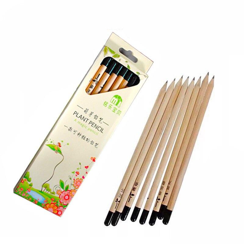8 шт./упак. забавные деревянные экологии рисования карандашами могут быть проросли расти Plantable травы прорастания растений семена для детей п...
