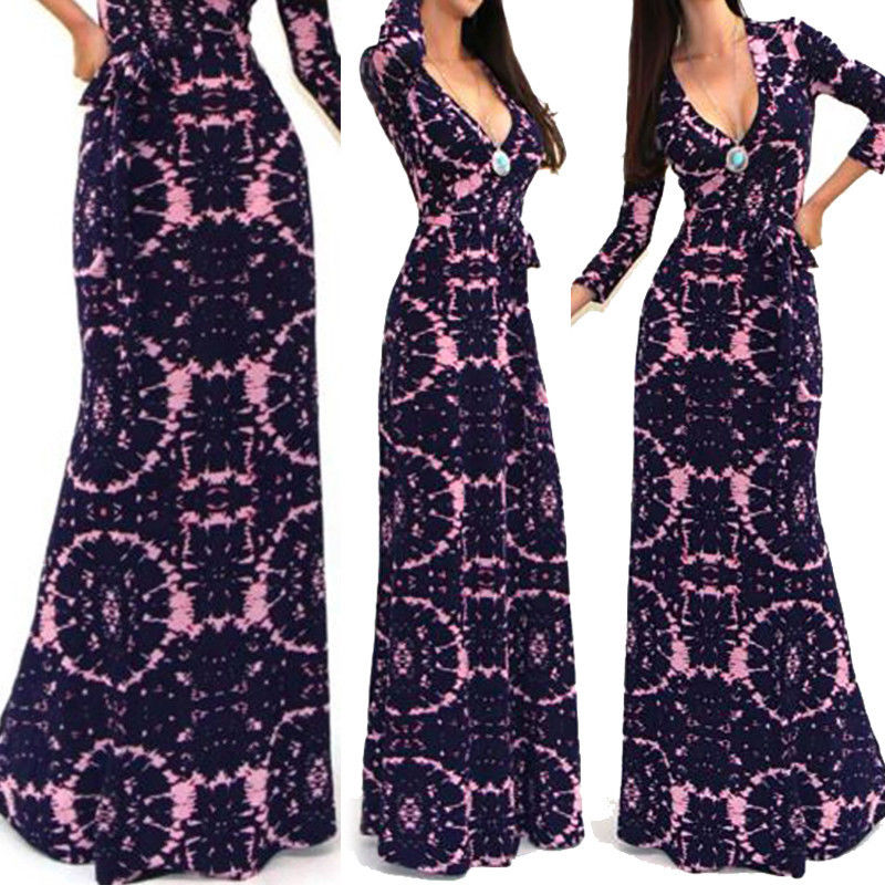 Sexy Women Autumn Long Sleeve A-Line Party Evening Tunic Swing Print V Neck Long Skater Dress