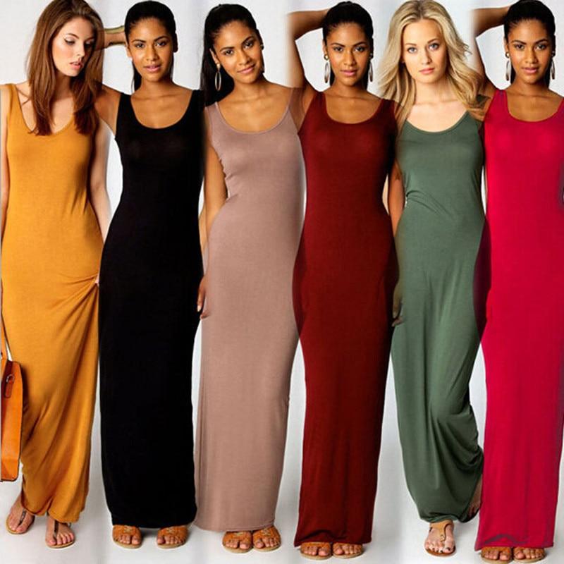 Women Summer Dress Elegant Fashion Solid O-Neck Sleeveless Long Party Dress Plus Size Slim Streetwear Casual Maxi Beach Vestidos