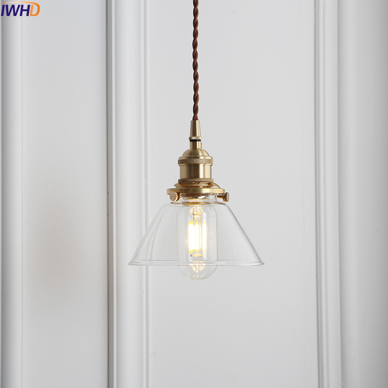 IWHD скандинавский стеклянный шар, подвесной светильник, светильники для столовой, гостиной, медный винтажный подвесной светильник, подвесной светильник s, Домашний Светильник ing