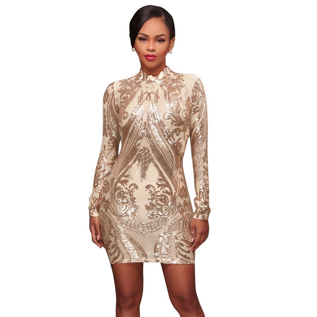 Sexy Women Sparkling Sequin Dress Long Sleeves Bodycon Nightwear Ladies  Evening Elegant Lady Party Mini Dresses Fashion Clothes 6673471ffab9