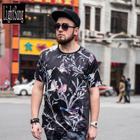 2018 Summer Men Casual Print T Shirt Plus Size Plus Size Fashion Floral And Bird Printing