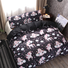 Unicorn Bedding Three-piece set of childrens home spinning maute large polyester fiber can be customized without bed linen