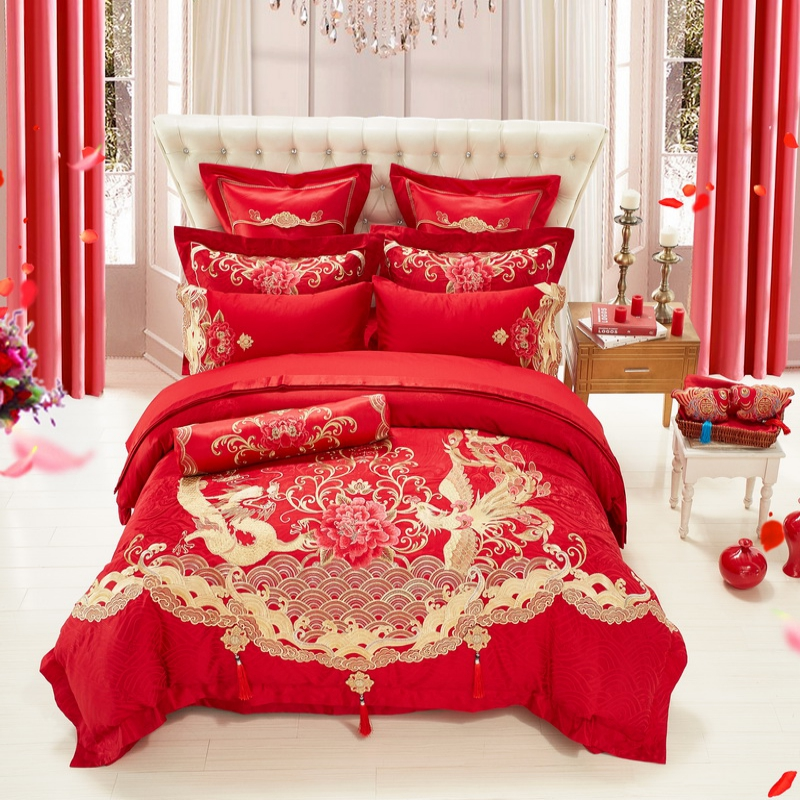 Luxury jacquard silk cotton red duvet cover set for king queen size bedding set 4/6/9pcs embroidery bedspread linen 4pcs pillowcLuxury jacquard silk cotton red duvet cover set for king queen size bedding set 4/6/9pcs embroidery bedspread linen 4pcs pillowc
